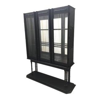 Mid Century Chinoiserie Bamboo Platform Display Cabinet