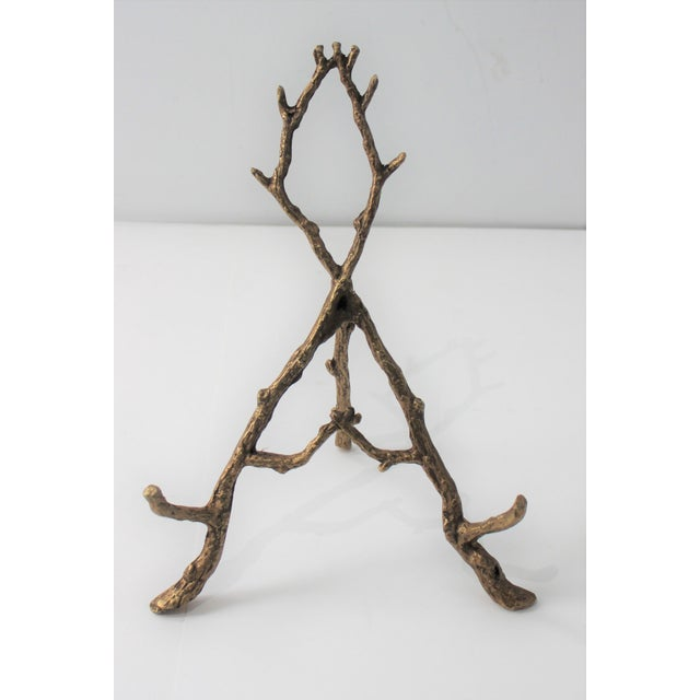 Contemporary Vintage Tabletop Easel Bronze Twig Motif For Sale - Image 3 of 13