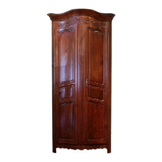 18th C. French Carved Walnut Bow Corner Cabinet For Sale