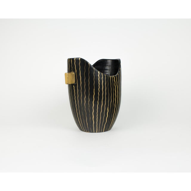 Mid Century Italian Striped Black and Gold Vase For Sale - Image 4 of 13