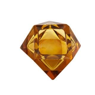 Czech Art Glass Amber Bowl For Sale