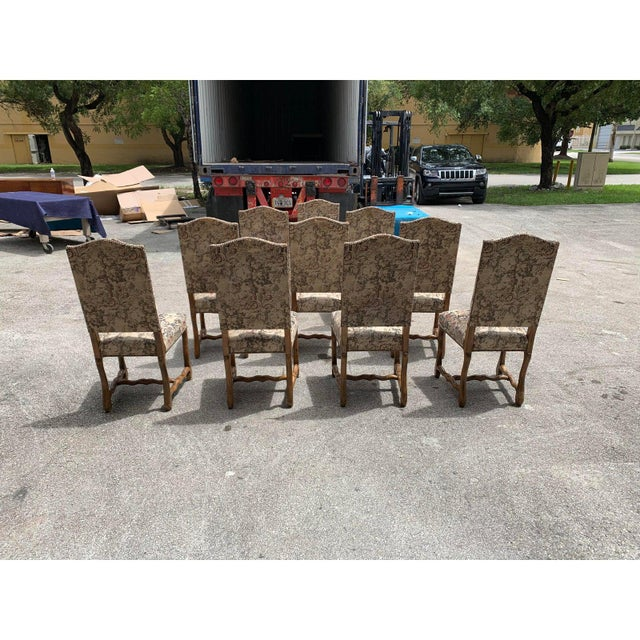 1900s Vintage French Louis XIII Style Os De Mouton Dining Chairs- Set of 10 For Sale In Miami - Image 6 of 13