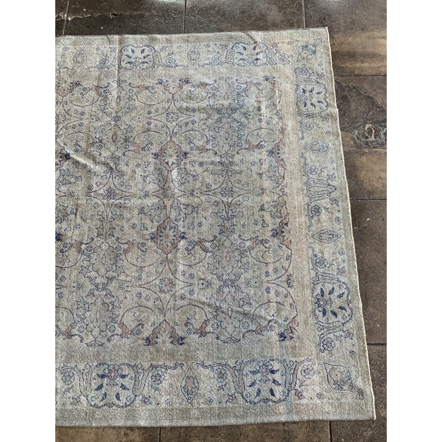 "Vintage Faded Persian Rug - 9' 0.5"" X 6' 1"" For Sale - Image 4 of 7"