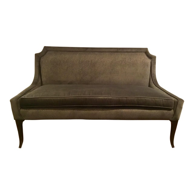 Caracole Gray Velvet Settee or Banquet Bench Prototype For Sale
