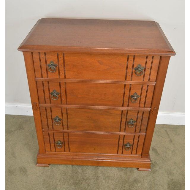 Wood Antique Victorian Walnut Eastlake 4 Drawer Lock - Side High Chest For Sale - Image 7 of 12