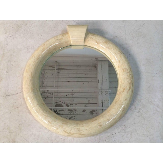 Bone 1970's Mid-Century Modern Tessellated and Sliced Bone Wall Mirror For Sale - Image 7 of 7