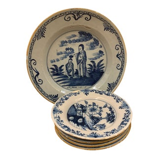 Delftware Traditional Ceramic Plates - Set of 5 For Sale