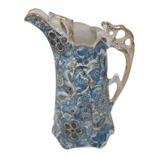 Vintage Arnart Japan Royal Paisley Victorian Style Blue & White Pitcher For Sale