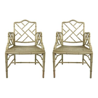 Faux Bamboo Chippendale Arm Chairs - Pair For Sale