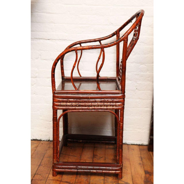 Wood Single 19th Century Chinese Horseshoe-Back Bamboo Armchair with Elm Base For Sale - Image 7 of 12