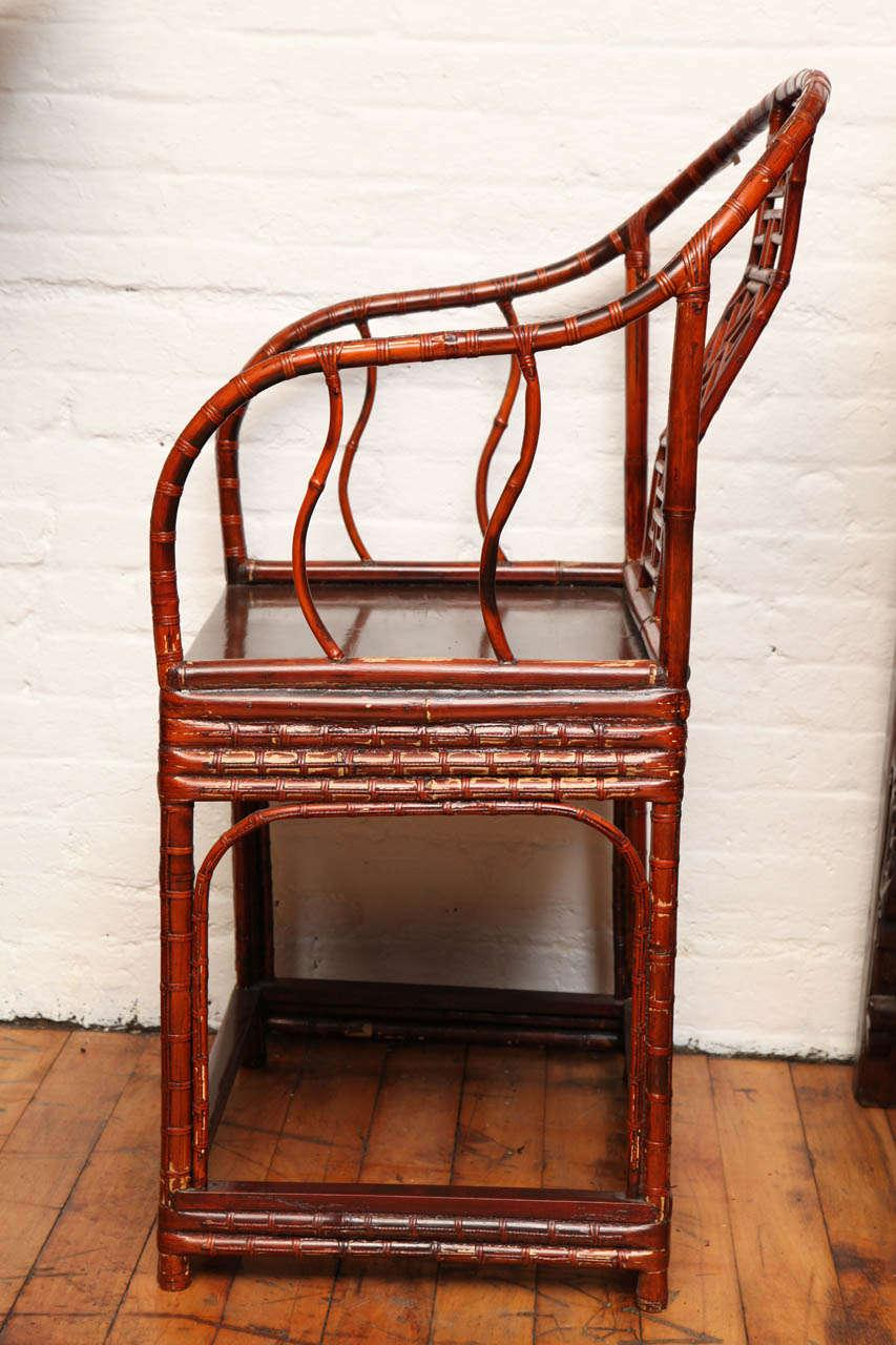 Bamboo Single 19th Century Chinese Horseshoe Back Bamboo Armchair With Elm  Base For Sale