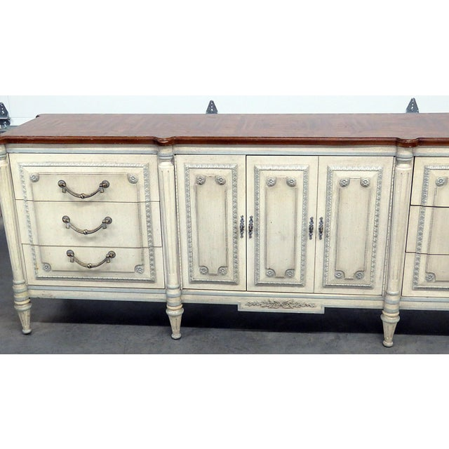 Louis XV Louis XV Style Fruitwood Top Distressed Painted Sideboard For Sale - Image 3 of 13