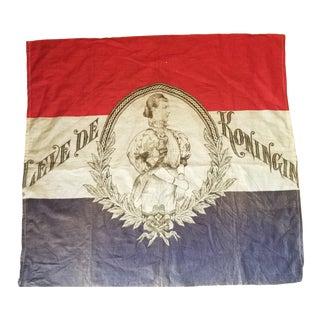 1920s Dutch Queen Wilhemina Flag For Sale