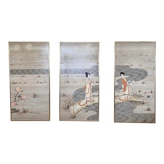 1940s Signed Japanese Geisha Landscape Paintings on Wood Panels in Brass Frame - Set of 3 For Sale