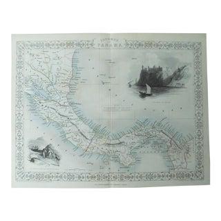 1853 Antique Tallis Panama Map Print For Sale