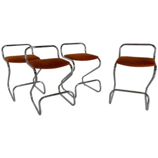 Mid-Century Modern Daystrom Furniture Co. Chromium and Fabric Stools - Set of 4 For Sale