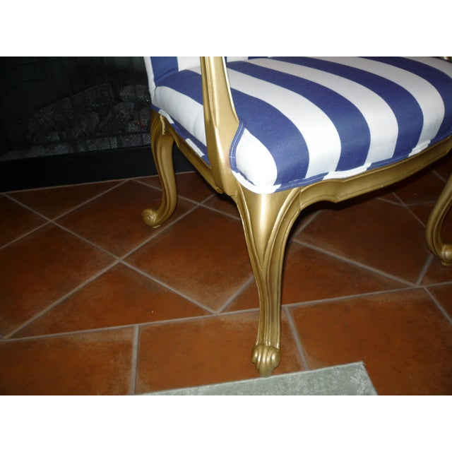 Regal Gold & Blue Striped Chair - Image 8 of 10