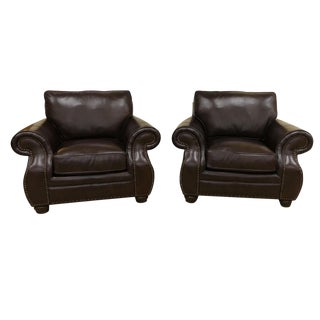 Bernhardt Furniture Genuine Leather Classic Club Chairs-A Pair For Sale