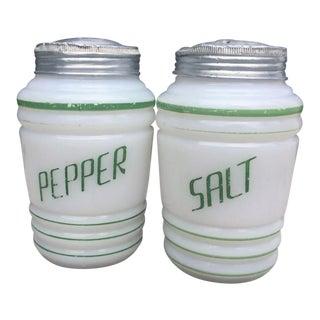 Milk Glass Salt & Pepper Shakers - a Pair
