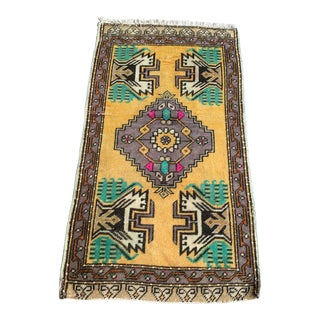1970s Vintage Turkish Geometric Small Rug - 1′11″ × 3′6″ For Sale