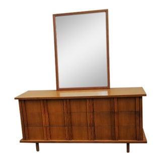 American of Martinsville Mid Century Walnut Dresser and Mirror 9 Drawer For Sale