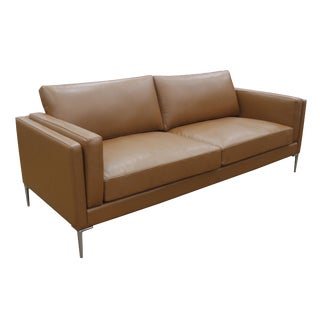 Contemporary Brown Leather and Metal Sofa