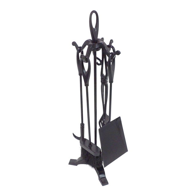 Vintage Wrought Iron Fireplace Tool Set For Sale
