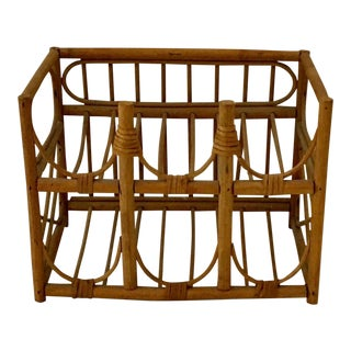1908s Boho Chic Natural Rattan Bottle Holder For Sale