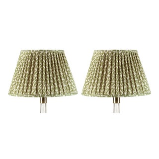 Fermoie Gathered Cotton Lampshade in Green Rabanna, 18 Inch, Set of 2 For Sale