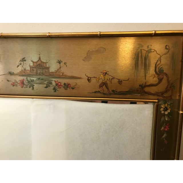 Mid 20th Century Asian Chinoiserie Faux Bamboo Casa Bique Handpainted Mirror For Sale - Image 5 of 10