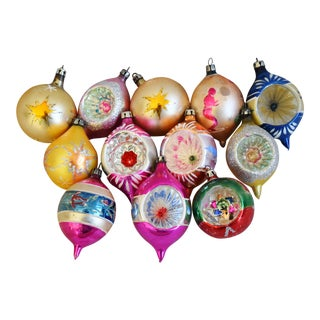 Vintage Indent & Fancy Colorful Christmas Ornaments - Set of 12 For Sale