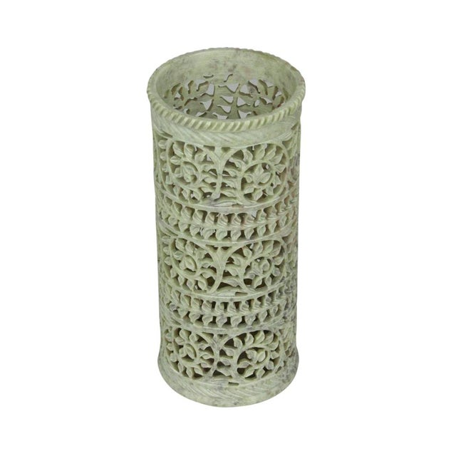 Soft Green Pierced Marble Vase - Image 2 of 4