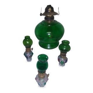 Green Glass Oil Lamp Set For Sale