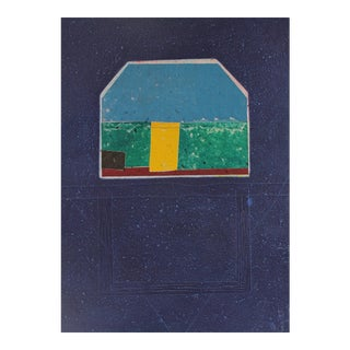 """""""House Grid"""" Large Collograph Print on Handmade Paper, 1984"""