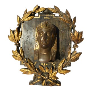 Napoleon III Bronze Pharaoh Head on Carved Floral Mounting For Sale