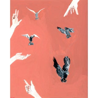 """""""Hand and Bird"""" Contemporary Gouache Painting by Alexandra Swistak For Sale"""
