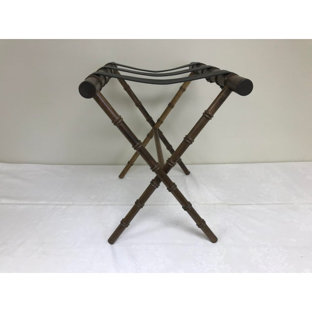 1960s 1960s Regency Faux Bamboo Leather Strap Folding Luggage Rack Stand For Sale - Image 5 of 10