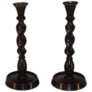 Barley Twist Candlesticks, Circa 1900 - a Pair For Sale