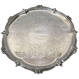Vintage English Barker Ellis Silver Plate Salver For Sale