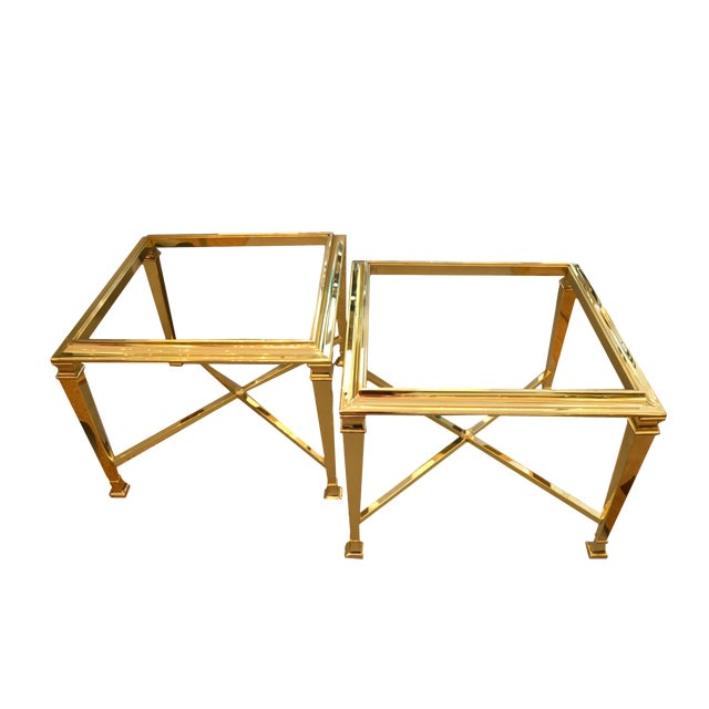 Hollywood Regency French Maison Jansen Brass Tables With Glass Tops, Pair For Sale
