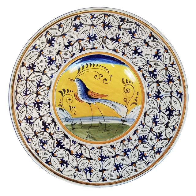 Hand-Painted Yellow & Blue Italian Plate - Image 1 of 4