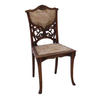 Vintage French Art Nouveau Carved Oak Chair For Sale