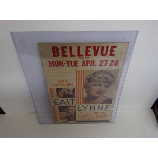 """Bellvue Theatre Poster, """"East Lynne,"""" 1931 - Image 6 of 8"""