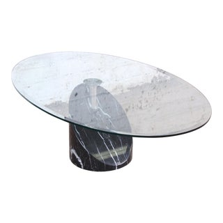 Cattelan Italia Cantilevered Swiveling Marble and Glass Cocktail Table, 1970s For Sale