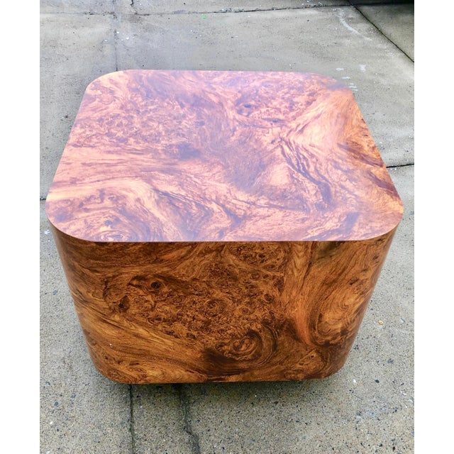 1970s Milo Baughman Burl Wood End Table or Coffee Table For Sale - Image 5 of 7