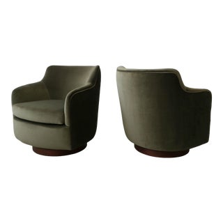 Pair of Midcentury Barrel Back Swivel Chairs by Dunbar For Sale