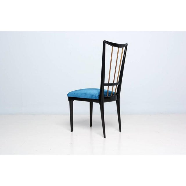 Mahogany Table & Blue Velvet Dining Chair Set For Sale In San Diego - Image 6 of 9