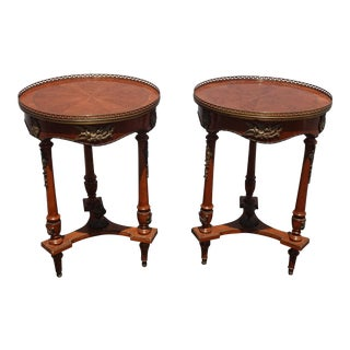 Vintage French Louis XVI Side Table W Brass Ormolu Marquetry Inlay Brass Fencing For Sale