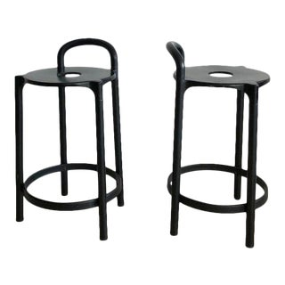 1979 Italian Anna Castelli Ferrieri by Kartell in Black Bar Stools - a Pair