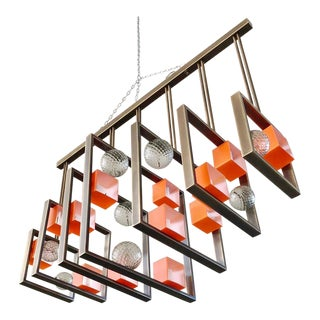 Minimalist Bronze Brass Cubic Chandelier With Orange & White Murano Glass Cubes For Sale